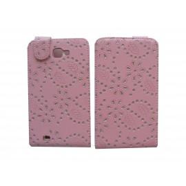 Pochette Etui simili-cuir rose pour Samsung Galaxy Note/I9220 fleurs avec strass + film protectin écran