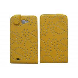 Pochette Etui simili-cuir jaune pour Samsung Galaxy Note/I9220 fleurs avec strass + film protectin écran