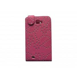 Pochette Etui simili-cuir rose foncé pour Samsung Galaxy Note/I9220 fleurs avec strass + film protectin écran