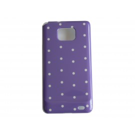 Coque rigide brillante pour Samsung I9100 Galaxy S2 bleue à pois blancs + film protection ecran offert