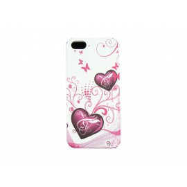 Coque pour Iphone 5 silicone blanche coeurs roses + film protection écran offert