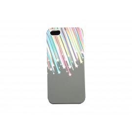 Coque pour Iphone 5 silicone noire étoiles filantes + film protection écran offert