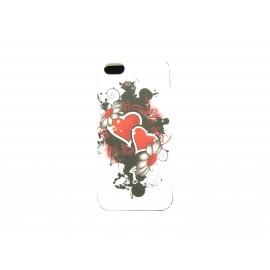 Coque pour Iphone 5 silicone blanche coeurs rouges + film protection écran offert