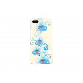 Coque pour Iphone 5 silicone blanche fleurs bleues+ film protection écran offert