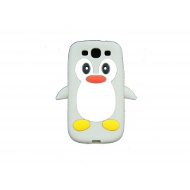 Coque Samsung I9300 Galaxy S3 silicone pingouin gris + film protection écran offert