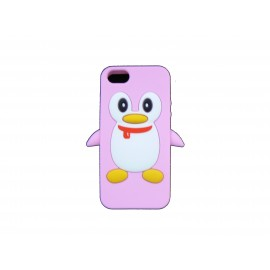 Coque pour Iphone 5 silicone pingouin rose + film protection écran offert