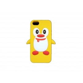 Coque pour Iphone 5 silicone pingouin jaune + film protection écran offert