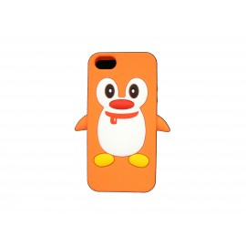 Coque pour Iphone 5 silicone pingouin orange + film protection écran offert
