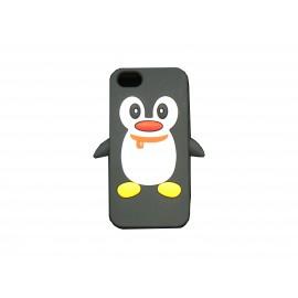 Coque pour Iphone 5 silicone pingouin noir + film protection écran offert