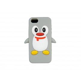 Coque pour Iphone 5 silicone pingouin gris + film protection écran offert
