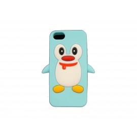 Coque pour Iphone 5 silicone pingouin bleu ciel + film protection écran offert