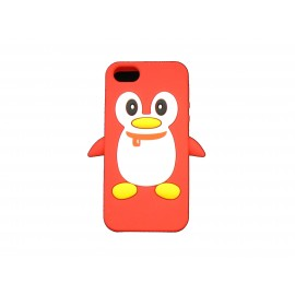 Coque pour Iphone 5 silicone pingouin rouge + film protection écran offert