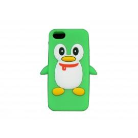 Coque pour Iphone 5 silicone pingouin vert + film protection écran offert