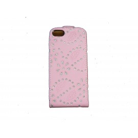 Pochette pour Iphone 5 simili-cuir rose strass diamants + film protection écran offert