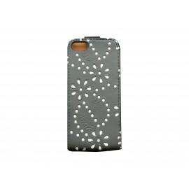Pochette pour Iphone 5 simili-cuir noire strass diamants + film protection écran offert
