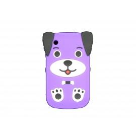 Coque silicone pour Blackberry 8520 curve chien violette  + film protection ecran offert