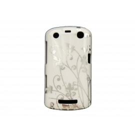 Coque pour Blackberry Curve 9350/9360/9370 blanche papillons argents + film protection écran offert