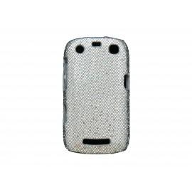 Coque pour Blackberry Curve 9350/9360/9370 paillettes blanches + film protection écran offert
