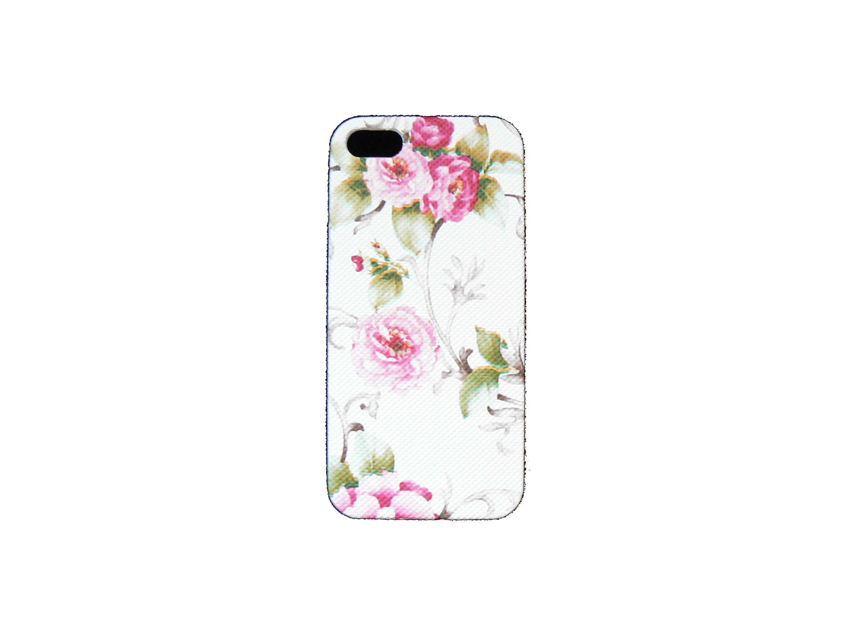 coque pour iphone 5 blanche avec des fleurs roses