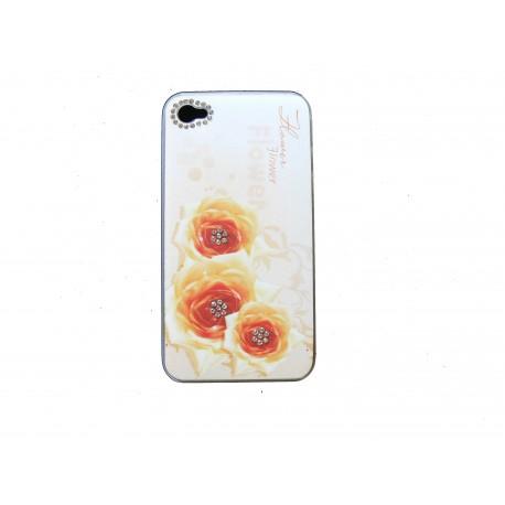 coque pour iphone 4s blanche fleurs oranges strass diamants. Black Bedroom Furniture Sets. Home Design Ideas