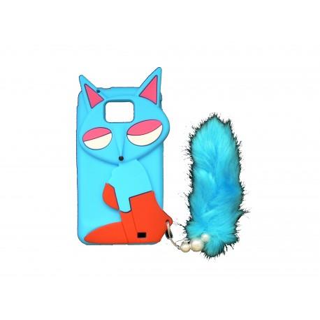 Coque pour Samsung I9100 Galaxy S2 silicone renard bleu+ film protection écran offert