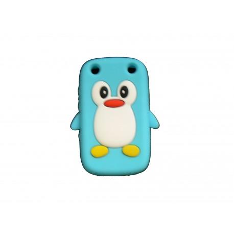 Coque pour Blackberry Curve 9320 silicone pingouin bleu turquoise + film protection écran offert