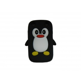Coque pour Blackberry Curve 9320 silicone pingouin noir + film protection écran offert