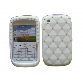Coque pour Blackberry 8520 curve silicone blanche strass diamants + film protection écran offert