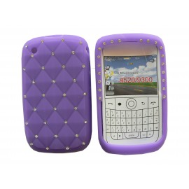 Coque pour Blackberry 8520 curve silicone violette strass diamants + film protection écran offert