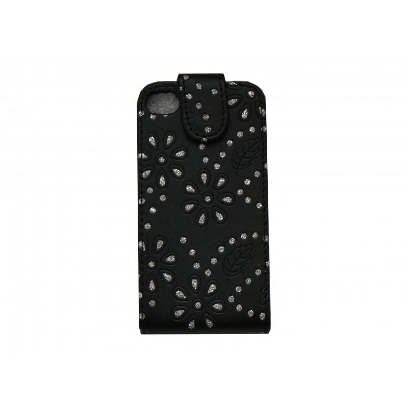 Pochette iphone 4s en simili cuir noire avec des fleurs et des strass diamants for Bureaux adolescente noir et strass