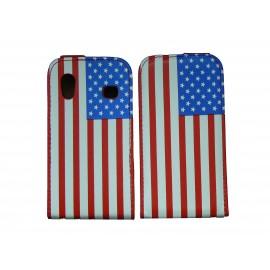Pochette pour Samsung Galaxy Ace S5830 simili-cuir drapeau USA/Etats-Unis + film protectin écran