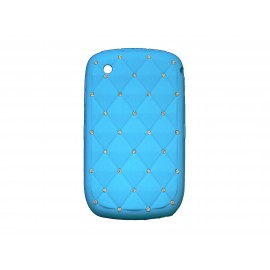 Coque pour Blackberry 8520 curve silicone bleue strass diamants + film protection écran offert