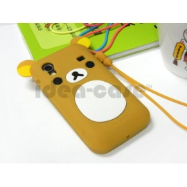 Coque Samsung S5830 Galaxy Ace silicone koala marron + film protection écran offert