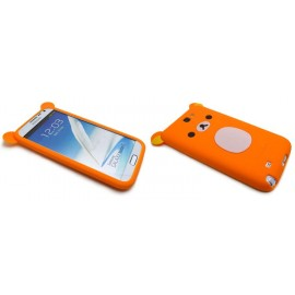 Coque pour Samsung Galaxy Note 2 - N7100 silicone koala orange + film protection écran offert