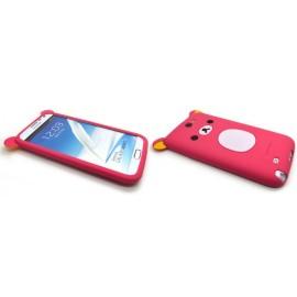 Coque pour Samsung Galaxy Note 2 - N7100 silicone koala rose fuschia+ film protection écran offert
