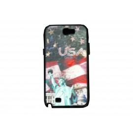 Coque pour Samsung Galaxy Note 2 - N7100 drapeau Etats-Unis/USA étoiles statue de la liberté + film protection écran offert