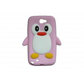 Coque pour Samsung Galaxy Note 2 - N7100  silicone pingouin rose clair + film protection écran offert