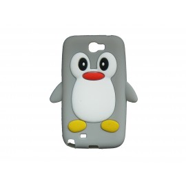 Coque pour Samsung Galaxy Note 2 - N7100  silicone pingouin gris + film protection écran offert