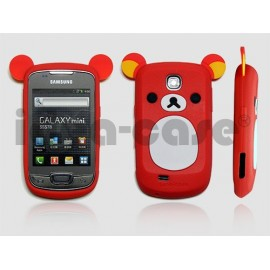 Coque pour Samsung Galaxy Mini S5570 silicone koala rouge + film protection écran offert