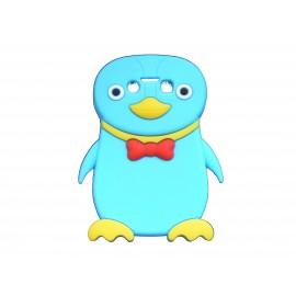 Coque pour Blackberry Bold 9790 silicone pingouin bleu turquoise nœud papillon rouge + film protection écran offert