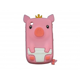Coque silicone pour Blackberry 8520 curve cochon rose + film protection ecran offert
