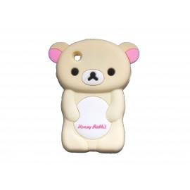 Coque silicone pour Blackberry 8520 curve ours beige oreilles roses + film protection ecran offert