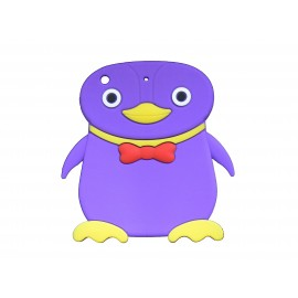 Coque silicone pour Ipad Mini pingouin violet+ film protection écran offert