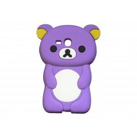 Coque silicone pour Samsung Galaxy S3 Mini/ I8190 ourson violet + film protection écran offert