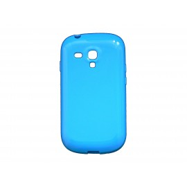Coque pour Samsung Galaxy S3 Mini/ I8190 en silicone glossy bleue + film protection écran offert