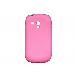 Coque pour Samsung Galaxy S3 Mini/ I8190 en silicone antidérapante rose + film protection écran offert