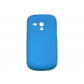 Coque pour Samsung Galaxy S3 Mini/ I8190 en silicone antidérapante bleue + film protection écran offert