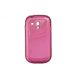 Coque pour Samsung Galaxy S3 Mini/ I8190 en silicone tranparente rose + film protection écran offert