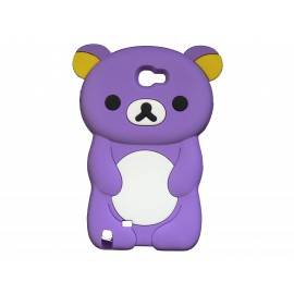 Coque pour Samsung Galaxy Note 2 - N7100  silicone ours violet oreilles jaunes + film protection écran offert