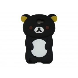 Coque pour Samsung Galaxy Note 2 - N7100 silicone ours noir oreilles jaunes + film protection écran offert